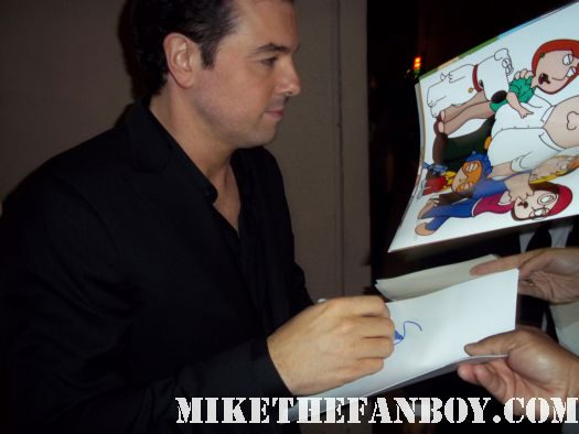 seth macfarlane family guy and american dad and the cleveland show creator signs autographs for fans after a talk show taping