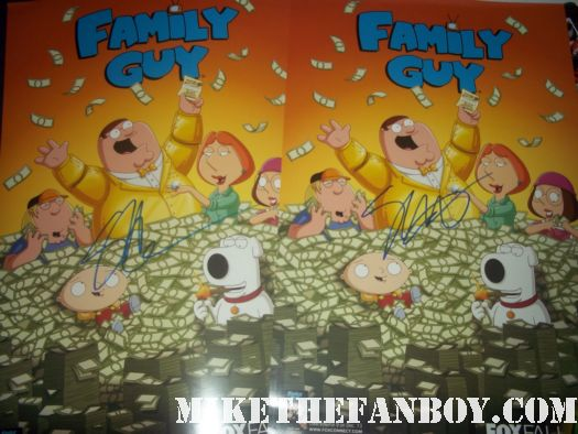 family guy rare promo san diego comic con poster mini limited edition signed autograph by seth macfarlane rare promo seth macfarlane family guy and american dad and the cleveland show creator signs autographs for fans after a talk show taping