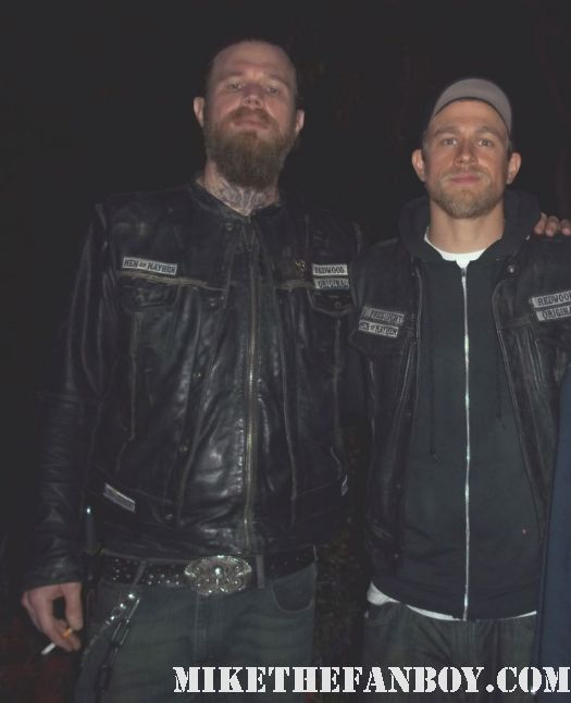 charlie hunnam and ryan hurst in costume as Jax and opie on the set of sons of anarchy