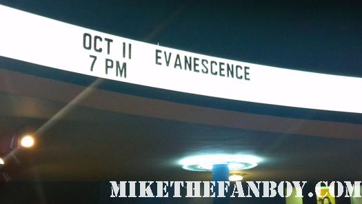 the marquee in front of the hollywood palladium for the october 11 2011 Evanescence concert in los angeles amy lee sexy hot rare concert review