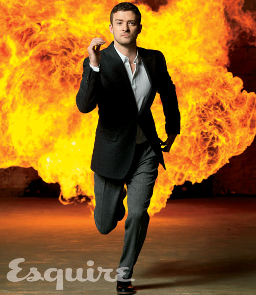 Justin Timberlake looking sexy and hot running for his life in a sea of fire in time friends with benefits rare promo sexy photo shoot photoshoot justin timberlake shirtless sweaty abs esquire magazine october 2011 magazine cover