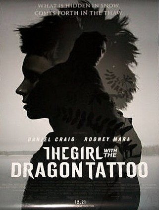 girl with the dragon tattoo rare david fincher rare promo poster liam neeson rooney mara sexy hot rare noir movie poster version 2