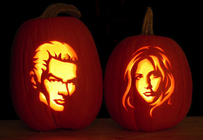 buffy the vampire slayer carved pumpkins for halloween spike james marsters sarah michelle gellar
