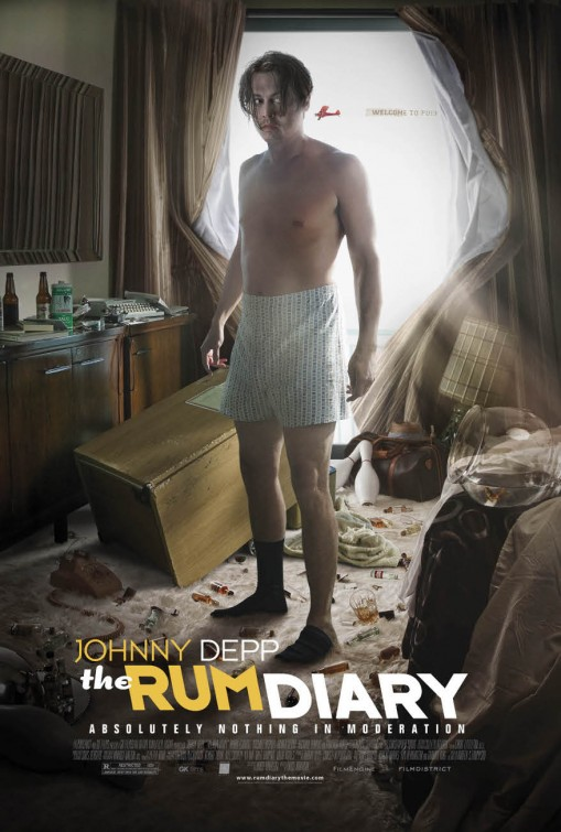 the rum diary rare promo poster johnny depp shirtless one sheet promo poster hot rare chaos huner s thompson