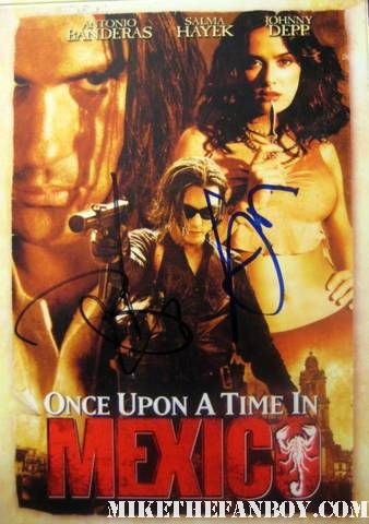 once upon a time in mexico johnny depp antonio banderas signed autograph dvd cover hot rare sexy promo johnny depp arriving to the rum diary world movie premiere the red carpet or black carpet at the rum diary world movie premiere with johnny depp signing autographs for the fans! johnny depp hand signed autograph rare promo press photo hot sexy premiere rare damn fine rare