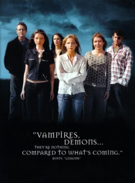 buffy the vampire slayer season 7 chosen rare promo press image cast photo sarah michelle gellar alyson hannigan nicholas brendon anthony stewart head michelle tractenburg eliza dushku buffy the vampire slayer prophecy girl rare promo press still prom dress 300px-Buffy-titlecard buffy the vampire slayer logo title card rare promo Buffy the vampire slayer  season 2 credit photo title card joss whedon sarah michelle gellar rare season 7 promo photo shoot entertainment weekly buffy quits promo cover shoot