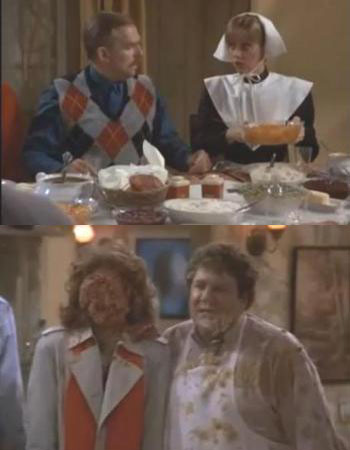 cheers thanksgiving episode with shelley long as a pilgrim food fight vera