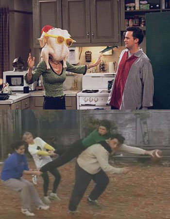 friends classic thanksgiving episode joey with a turkey on his head gellar bowl courteney cox