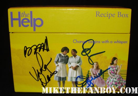 The help cast signed autograph promo recipe box movie poster art octavia spencer emma stone viola davis bryce dallas howard