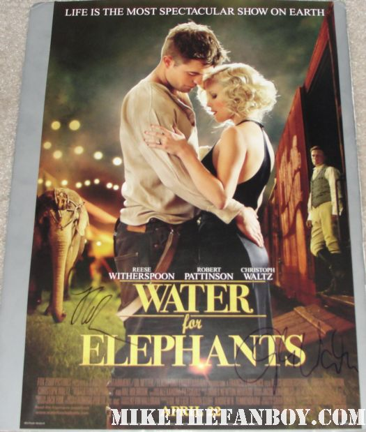 robert pattinson christolf waltz signed autograph water for elephants promo mini poster reese witherspoon