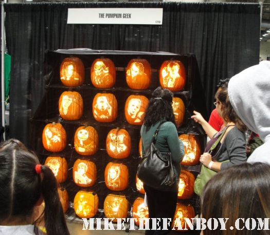the pumpkin geek booth at comicaze expo 2011 with hand carved pumpkins rare hot sexy buffy the vampire slayer cool carved pumpkins