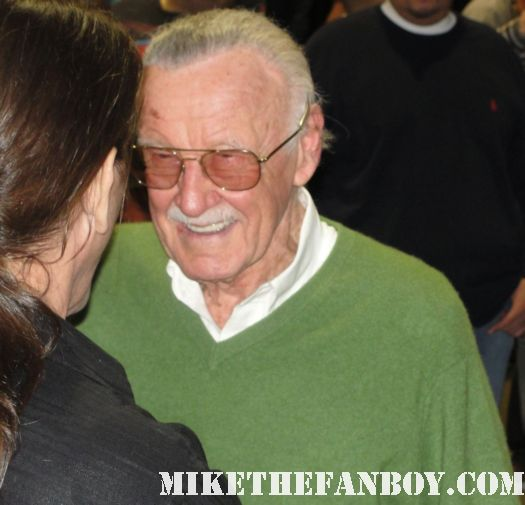 stan lee marvel maestro milling with fans and  people at the comikaze expo 2011 los angeles convention center rare promo