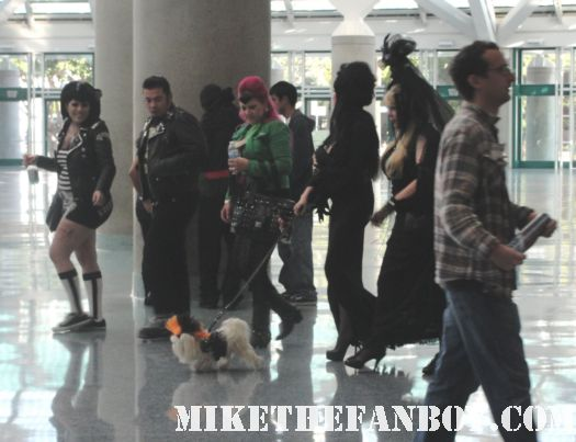 costumed elvira fans walking around at the stan lee marvel maestro milling with fans and  people at the comikaze expo 2011 los angeles convention center rare promo