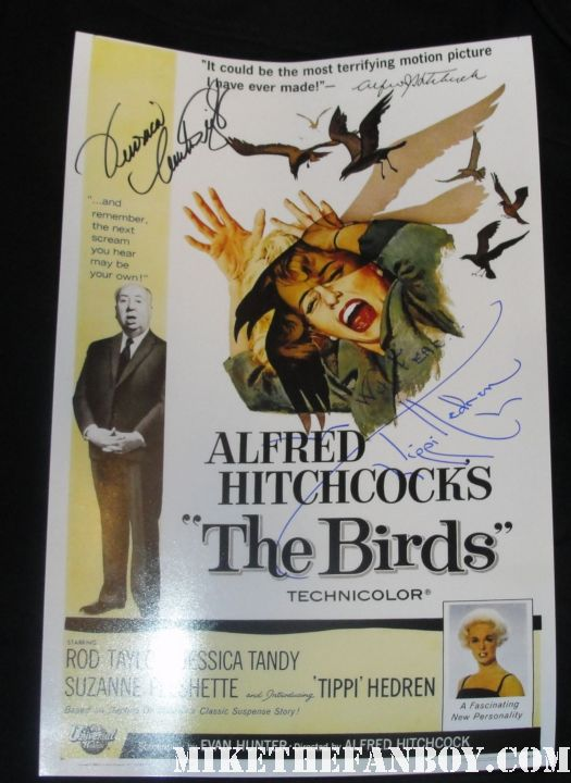 veronica cartwright and tippi hedren signed autograph the birds rare promo mini poster signed autograph promo rare