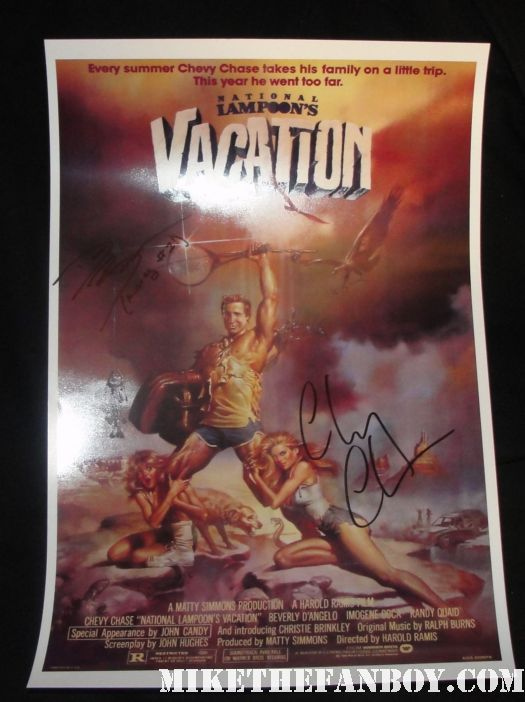 chevy chase signed autograph national lampoon's vacation promo mini poster dana barron audrey 1