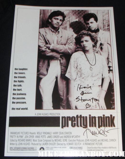 annie potts harry dean stanton signed autograph pretty in pink mini poster rare promo soundtrack vhs rare