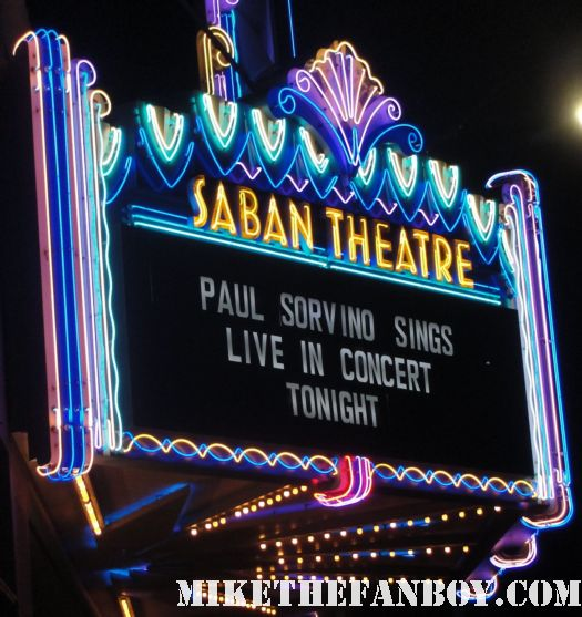 paul sovino sings marqee at the saban theatre in los angeles where I met Mira sorvino romy and michele's high school reunion