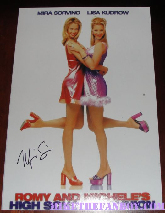 Mira sorvino signed autograph romy and michele's high school reunion mini poster rare promo