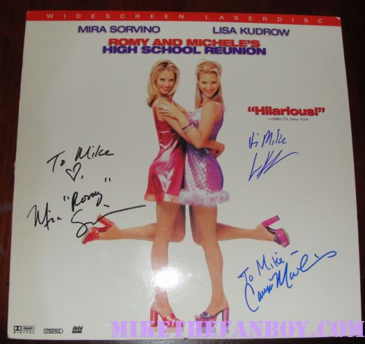 Mira sorvino lisa kudrow signed autograph romy and michele's high school reunion mini poster rare promo
