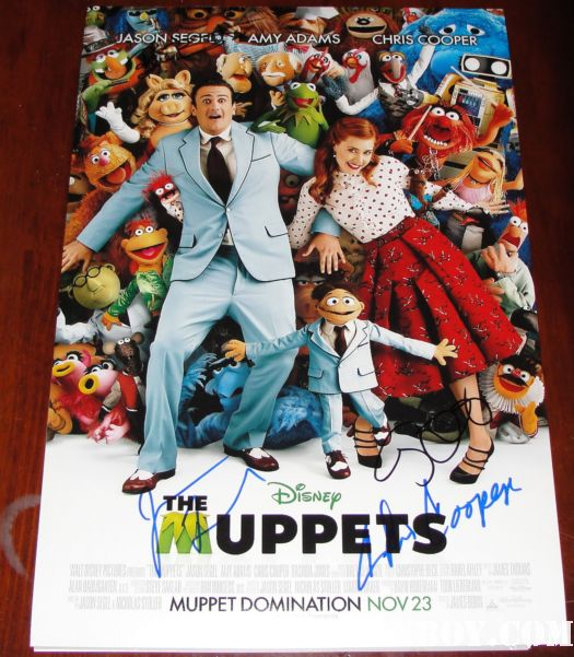 the muppets promo mini poster signed by jason segel amy adams chris cooper rare promo kermit the frog