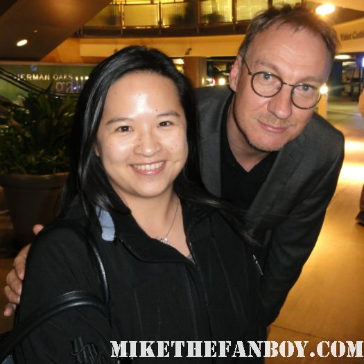 erica with harry potter star david thewlis posing for a fan photo David Thewlis, Professor R.J. Lupin from the Harry Potter movies signing autographs for fans before and q and a at the arclight theatre
