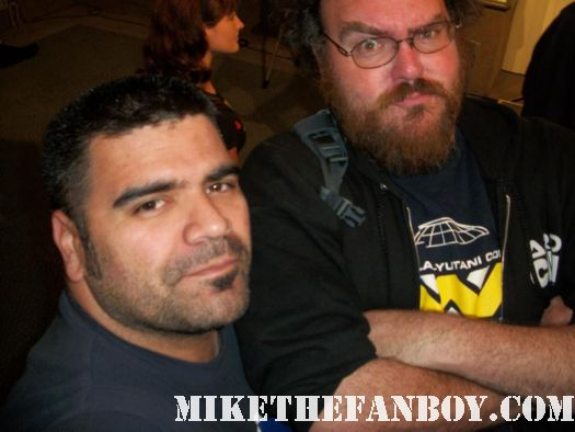 Jon Schnepp from Metalocolypse Spider One from powerman 5000 Tony Todd the candyman poses with a fan at comikaze expo 2011 in downtown los angeles