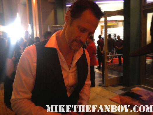 Christopher Heyerdahl from Hell on wheels stops to sign autographs for fans at the amc premiere