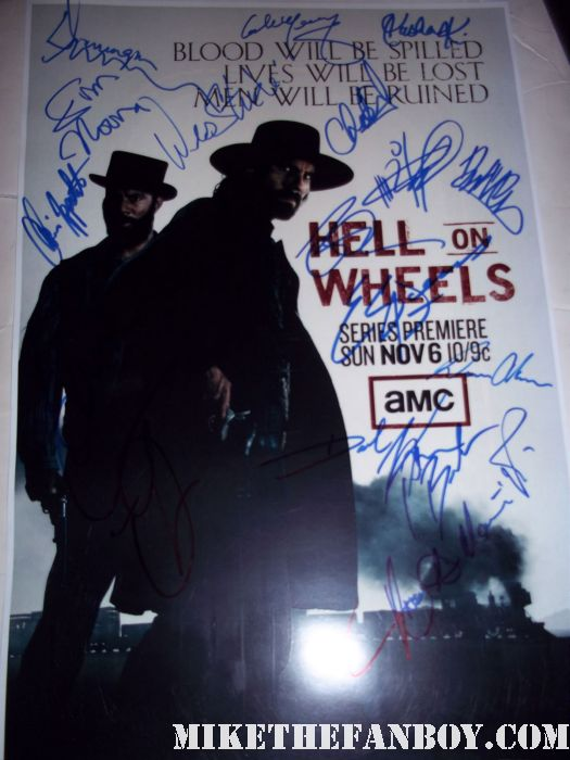 hell on wheels rare amc promo poster signed autograph rare promo ben esler anson mount sexy hot rare promo poster