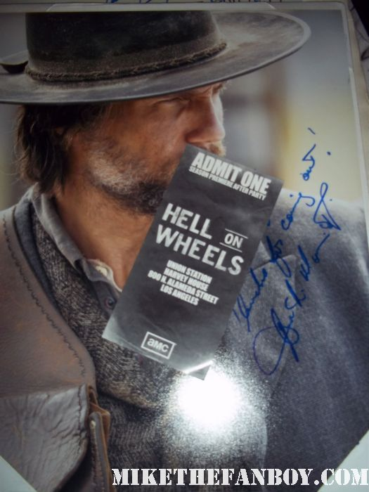 anson mount rare signed autograph hell on wheels rare promo poster hot sexy damn fine anson mount crossroads shirtless