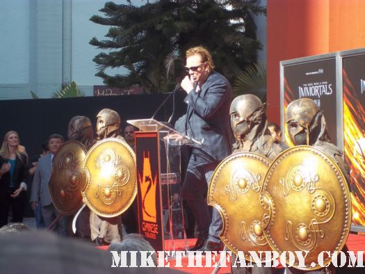 mickey rourke giving his speech at mickey rourke's hand and footprint ceremony at grauman's chinese theatre! Mickey rourke signed autograph immortals