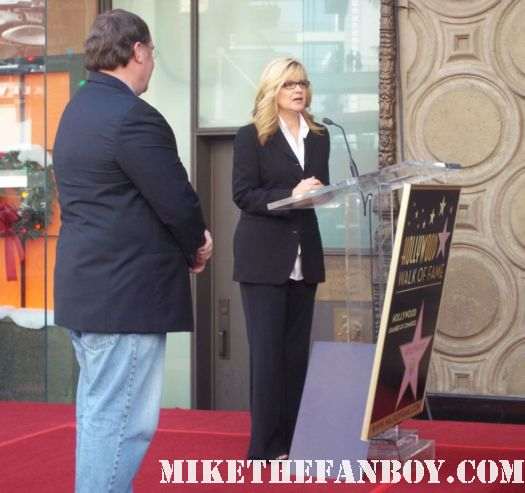 john lasseter walk of fame star ceremony bonnie hunt giving her speech on hollywood blvd.