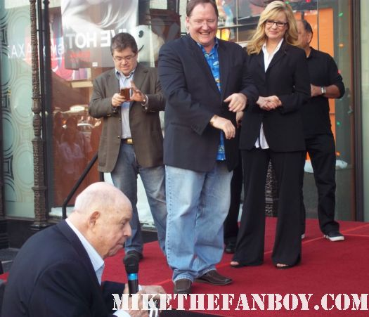 john lasseter walk of fame star ceremony bonnie hunt giving her speech on hollywood blvd. don rickles doing a stand up routine