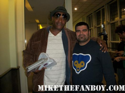 Tony Todd the candyman poses with a fan at comikaze expo 2011 in downtown los angeles