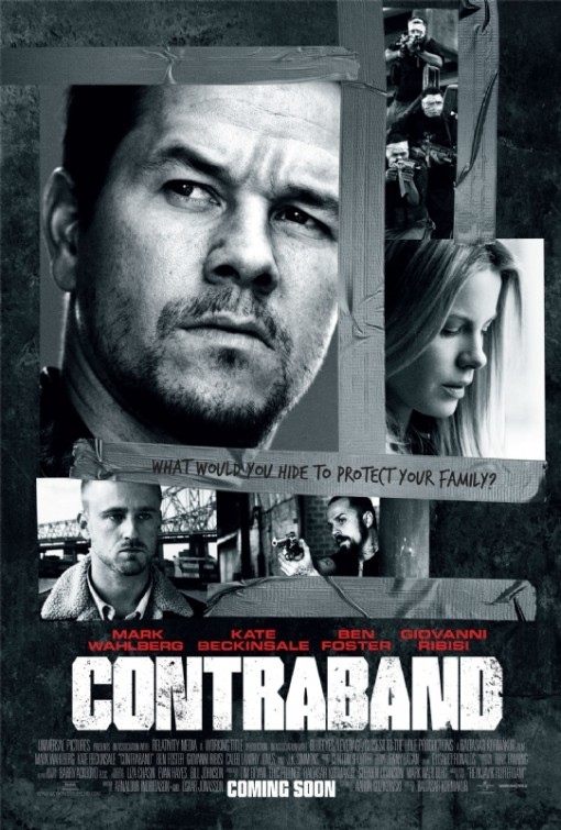 contraband movie poster mark wahlberg kate beckinsale ben foster rare hot sexy promo poster black and white marky mark hot sexy beard