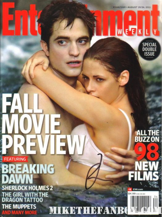 rob pattinson robert pattinson signed autograph entertainment weekly cover hot sexy shirtless promo kristen stewart