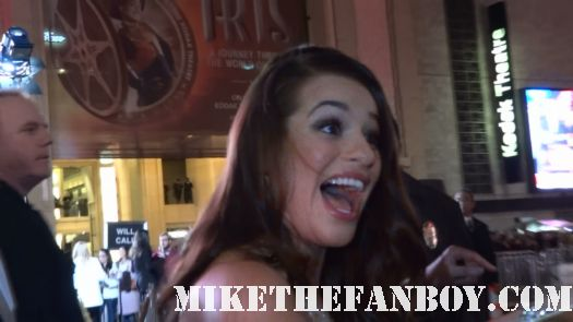 glee star Lea Michele arrives the new years eve world movie premiere and signs autographs for fans