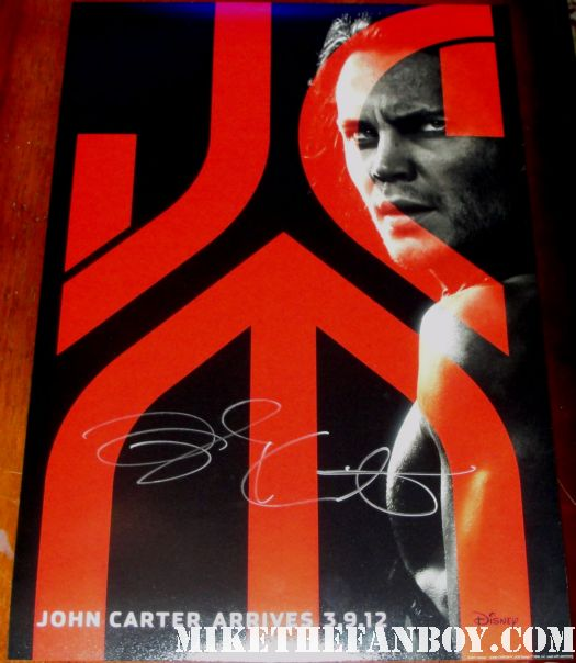 taylor kitsch signed autograph john carter from mars rare promo mini poster taylor kitsch shirtless sweaty hot