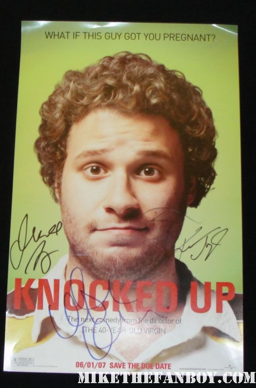 katherine heigl judd apatow seth rogan leslie mann signed autograph knocked up mini promo poster