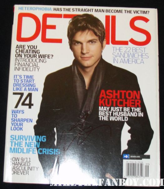 ashton kutcher signed autograph vintage details magazine hot and sexy photo shoot