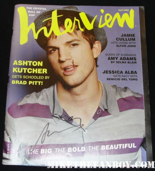 ashton kutcher signed autograph vintage interview magazine hot sand sexy