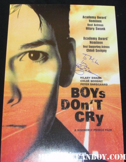 hilary swank signed autograph boy don't cry promo mini poster promo