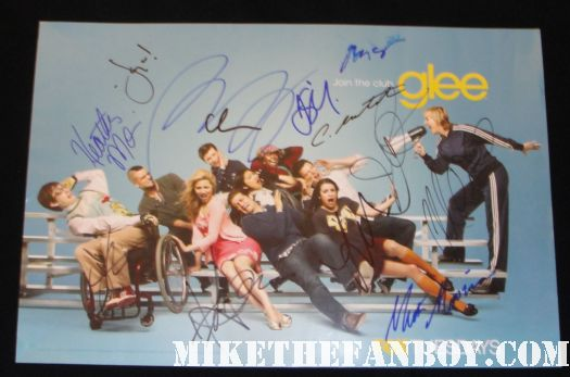 glee cast signed autograph mini promo poster lea michele jane lynch matthew morrison corey montheith chris colfer