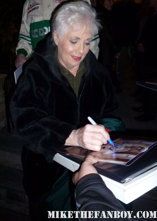 Shirley jones signing autographs for fans after a performance of It's a Wonderful Life at the Geffen theatre in westwood