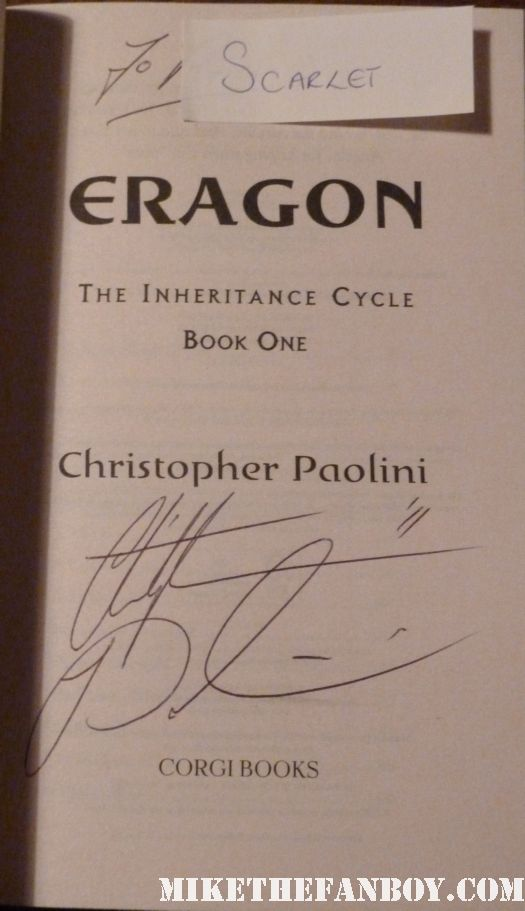 eragon novel and book signing with Christopher Paolini autograph signed rare promo dragon book