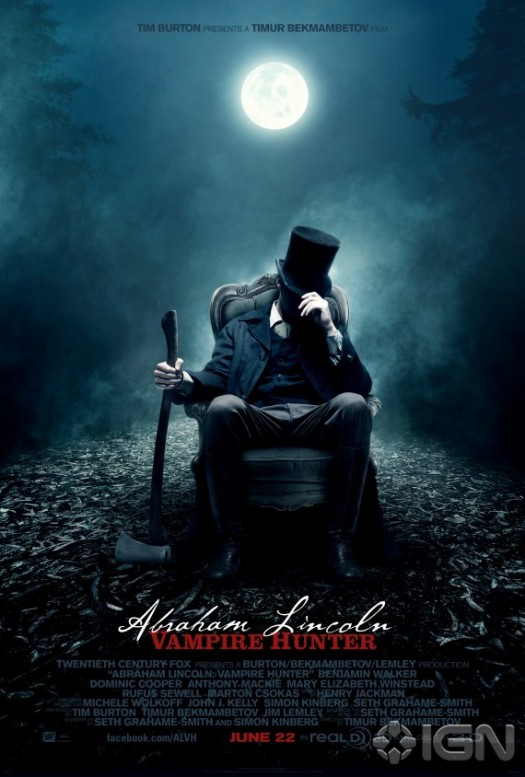 abraham-lincoln-vampire-hunter-rare promo one sheet movie poster tim burton rare promo hot sexy president vampire slayer