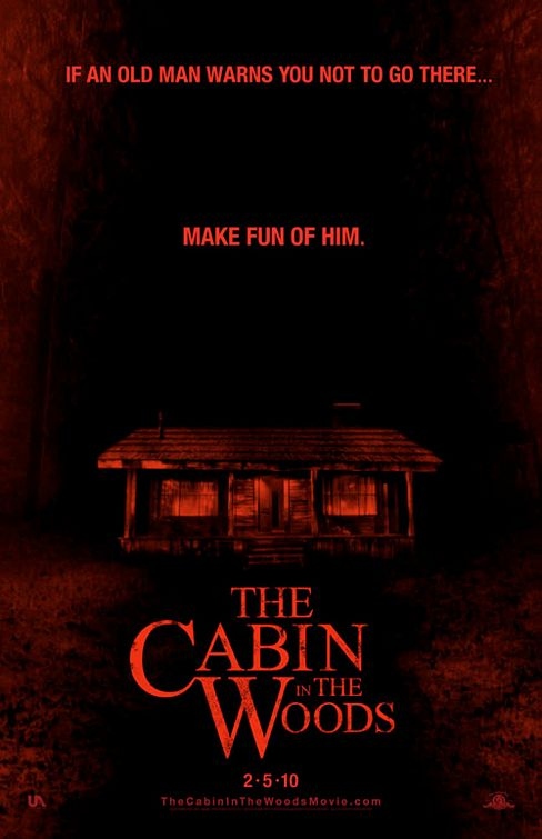 cabin_in_the_woods rare one sheet movie poster promo joss whedon chris hemsworth amy acker make fun of him tagline