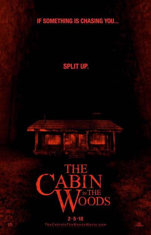 cabin_in_the_woods rare one sheet movie poster promo joss whedon chris hemsworth amy acker split up tagline