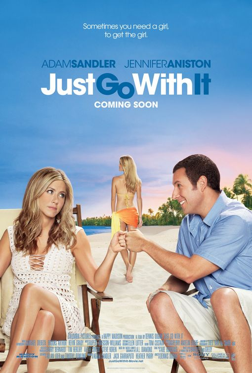 just_go_with_it rare promo teaser poster adam sandler jennifer aniston rare poster promo just go with it hot rare hot bickini clad girl