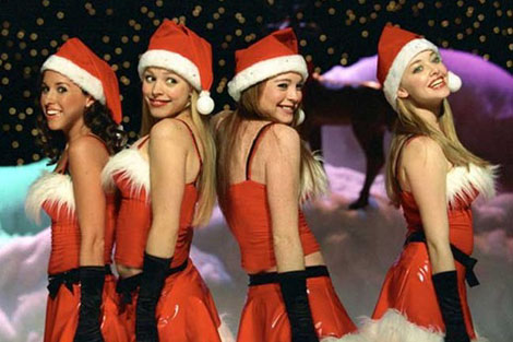 mean girls rare jingle bell rock promo press still lindsay lohan amanda seyfried rachel mcadams lacey chabert jingle bell rock santa hats christmas still promo