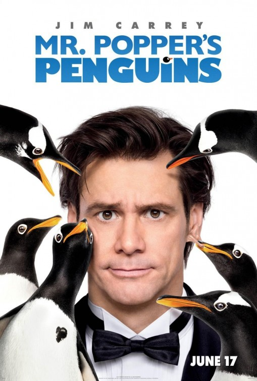 mr_poppers_penguins rare teaser movie poster promo jim carrey penguins rare kids movie poster